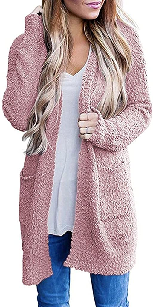 Cardigan Sweater for Women Solid Color Casual Decorative Pocket Long Sleeve Outwear Sweater Wool Knit Long Cardigan Coat
