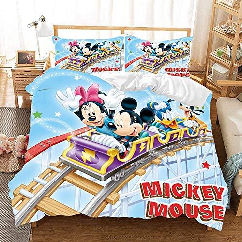 QWAS Juego de ropa de cama de Mickey Minnie Mouse, mullida y suave, con un bonito diseño, 3 piezas, regalo para niños, de alta calidad (X01, 200 x 200 cm + 50 x 75 cm x 2)