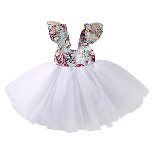 ba404019bd8 Newborn Toddler Baby Girls Floral Dress Party Ball Gown Lace Tutu Formal Dresses  Sundress