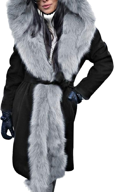 LEISHOP Womens Overcoat Maxi Long Length Hoodie FauxFur Collar Parka Jacket Coat