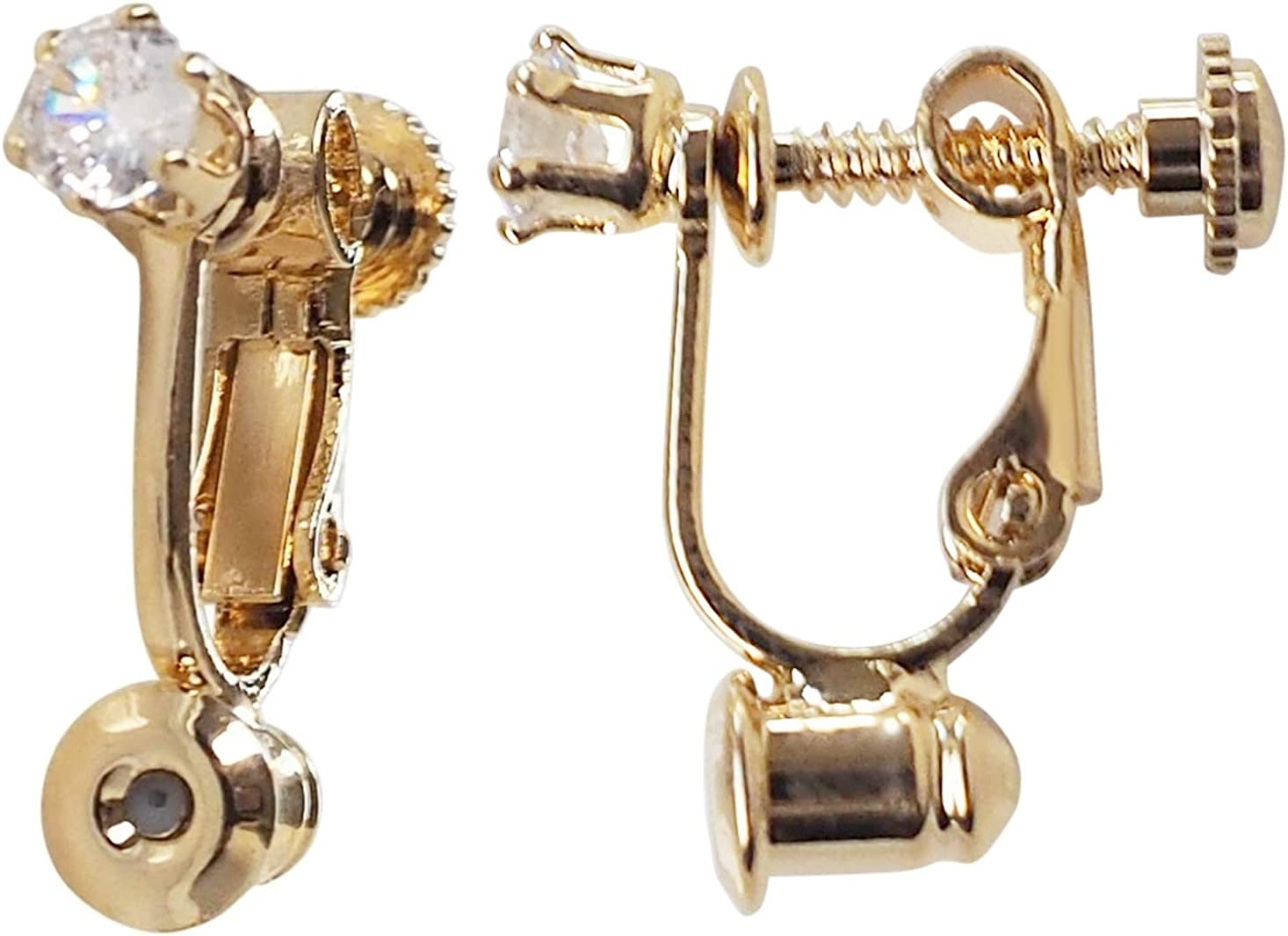 Screw Back Clip On Earrings Converters For Women, Pierced Earrings to Clip-on Non Pierced Earrings Miyabi Grace Gold with Crystal