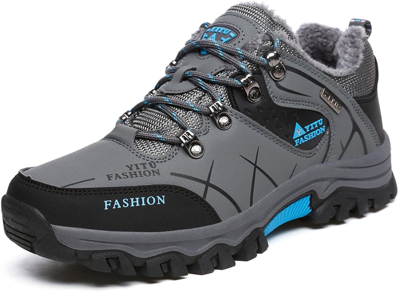 GOMNEAR Hiking Boots Trekking shoes Men's Low Top Waterproof Winter Warm Fully Fur Lining Sneaker