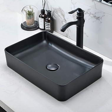 "black Bathroom Vessel Sink and Faucet Combo -VOKIM 20""x14"" Modern Rectangle Above Counter black Porcelain Ceramic Ves"
