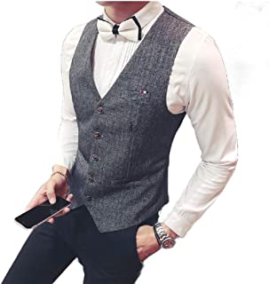 Howely Men Single Breasted Dress Business Casual Knitting Dress Waistcoat
