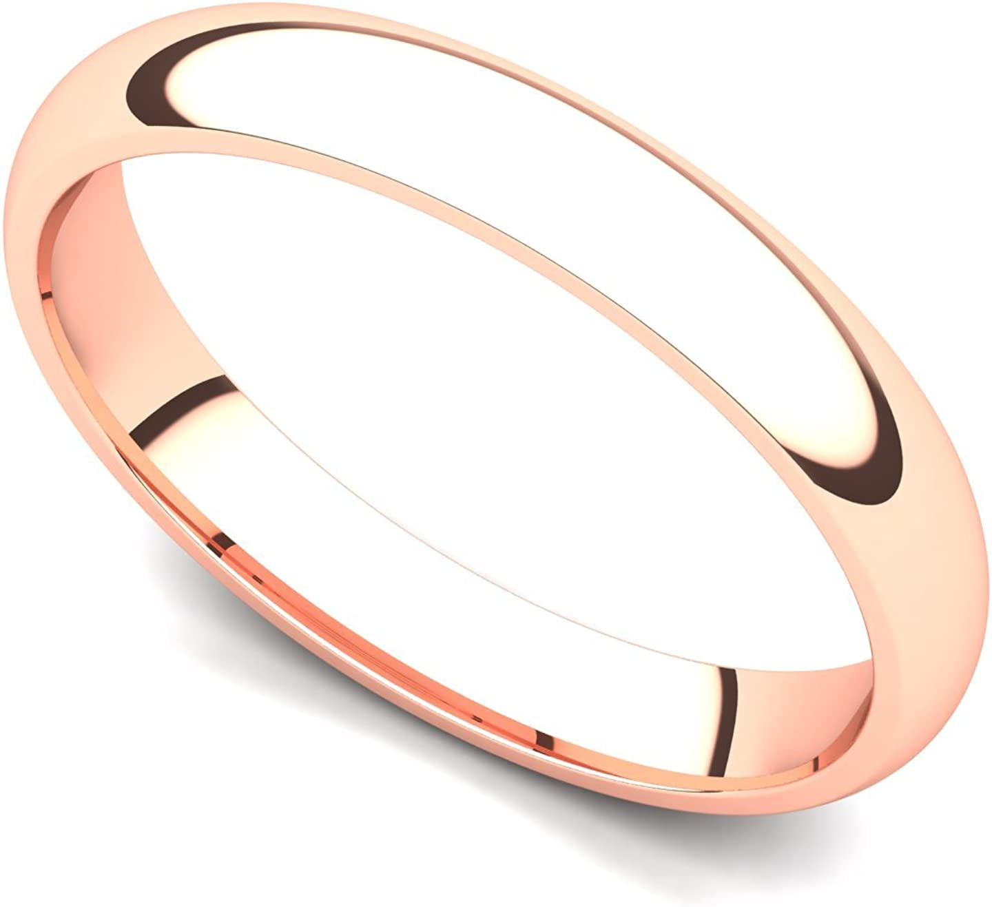 14k Rose Gold 3mm Rare Classic Plain Popular shop is the lowest price challenge Comfort Ring Fit Band Wedding