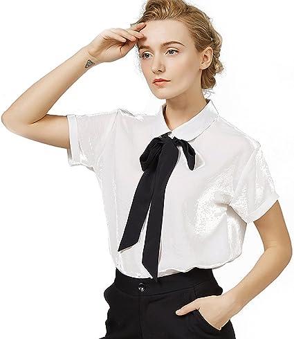 Blusa de verano bowknot mujeres estilo universitario camisa ...