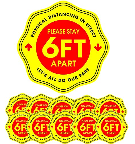 12' Social Distancing Floor Decal Stickers, 10 Pack Safety Floor Signs, 6 Feet Safety Distance Apart Decals, Removable Stickers for Crowd Control Guidance, Grocery, Pharmacy, Bank, Lab