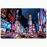 Alfombra de baño para baño Alfombrillas antideslizantes Times Time Square Nueva York York 5 de agosto Monumentos United Traffic Manhattan Parques al aire libre Ocupado Decoración de felpa Felpudo Alfo