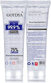 5 Packs x 80ML 75% Alcohol Disposable Antibacterial No-wash Hand Sanitizer Gel Travel Size Kills 99.9% Germs Rinse-Free Sa...