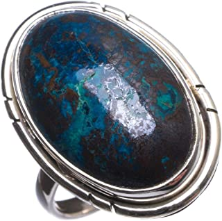 Natural Chrysocolla Handmade Mexican 925 Sterling Silver Ring, US Size 6.75 T6351