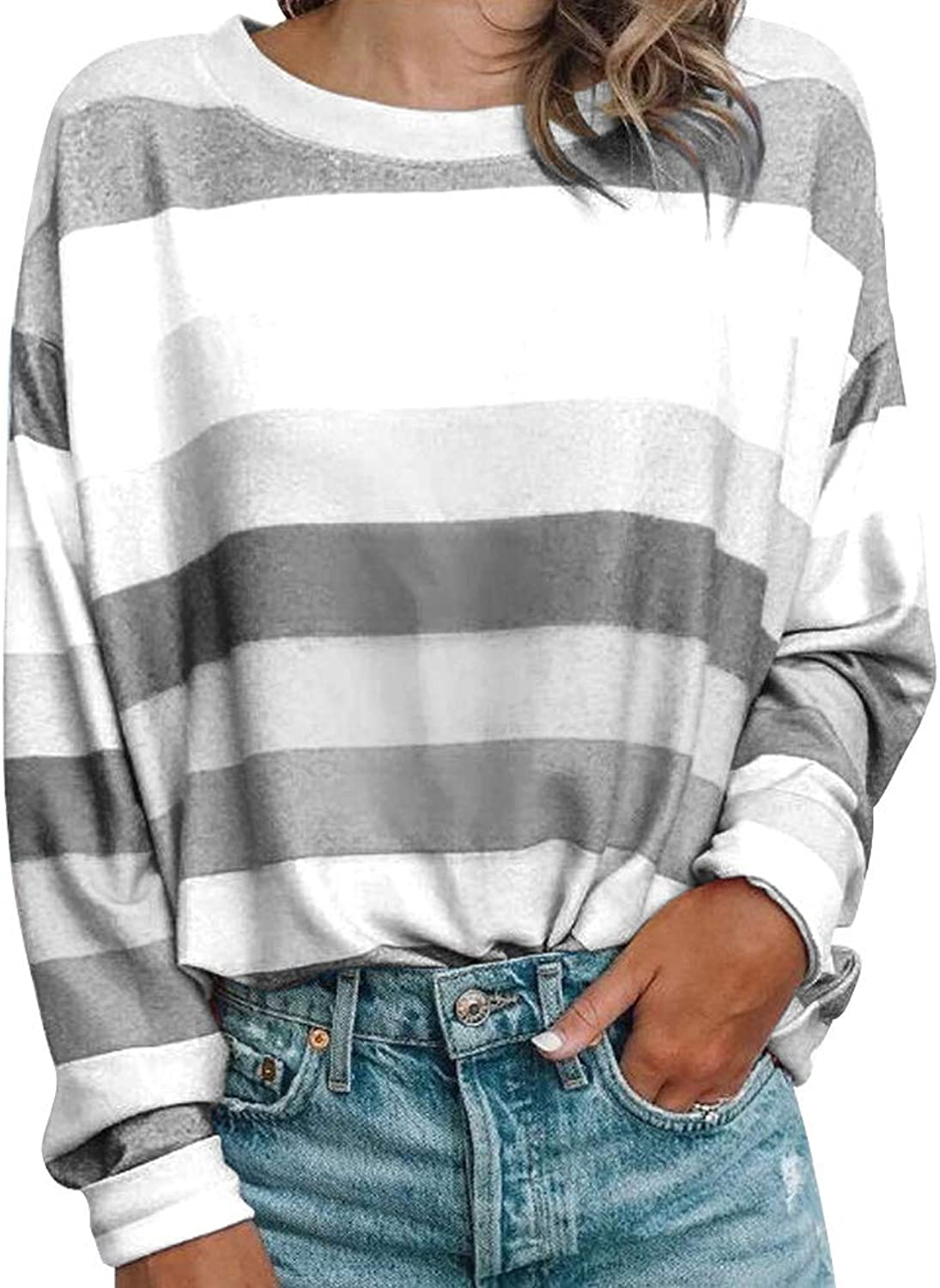 Allumk Women's ONeck Long Sleeve Contrast color Striped Casual Tunic Tops TShirt