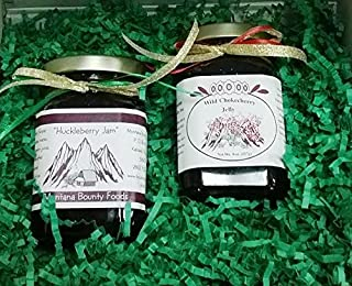Montana Huckleberry Jam Chokecherry Jelly - Gift-Set (2) 9 oz Jars Fruit Grown & Hand Picked in the Wild from Bounty Foods...