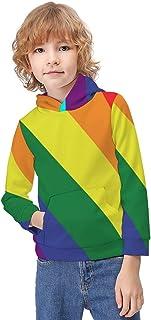 Kid's Novelty Sweater LGBT Gay Pride Flag Hoodie Teen's Long Sleeve Sportswear Fleece Hood Pullover-