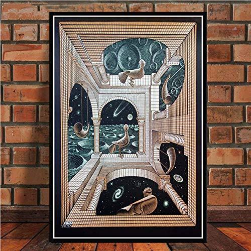 Hllhpc Schilderij Kunstdruk Escher Surrealistisch geometrisch Retro Vintage Poster Kunstdruk Wandschilderijen voor de decoratie van de woonkamer