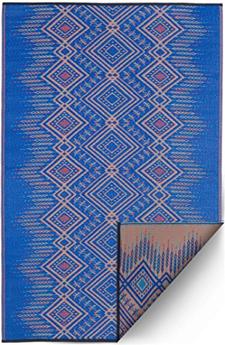 Fab Habitat Reversible Rugs - Indoor or Outdoor Use - Stain Resistant, Easy to Clean Weather Resistant Floor Mats - Jodhpur - Blue, 6' x 9'