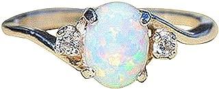 chenJBO Women's 925 Sterling Silver Bare Stone Diamond Ring,Oval Cut Fire Opal Diamond Band Rings