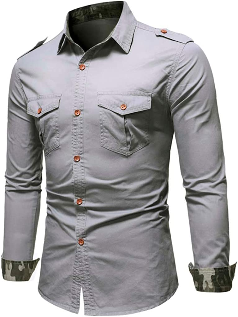 Heetey - Camisa Vaquera de Manga Larga, Estilo Cowboy, para el Ocio, para Hombre, Informal, con Bolsillos y Blusa Superior