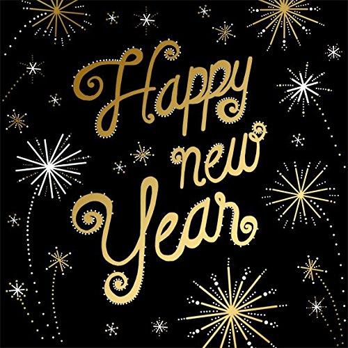 AvanCarte Servietten Silvester Neujahr Gold Happy New Year 20 Stück 3-lagig 33x33cm