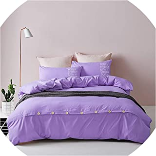 2019 New Minimalist Pure Style Home Textiles Bedding Set Bed Linen Set Duvet Cover Bed Sheet Pillows Soft and Comfortable Queen,Purple,Full