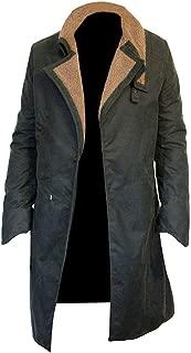 Leather Factory Blade Runner 2049 Ryan Gosling Waxed Cotton Dark Green Trench Coat Men's, Women
