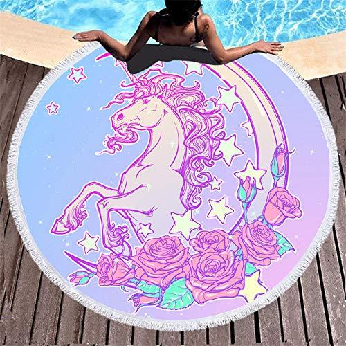 BCDJYFL Microfibra Toalla De Playa Unicornio Flor Creativa 3D Rectangular Multi-Funcional para Toalla Baño Mantel Nadar Deportes Viajes Decoración.-Diámetro: 150Cm