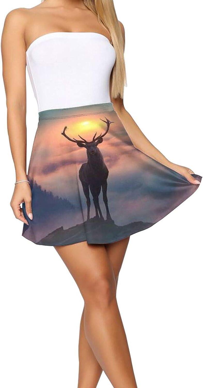 RHRFOL Deer 3 Women's Basic Versatile Stretchy Flared Casual Mini Skater Skirt