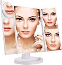 LED Lighted Makeup Vanity Mirror with Touch Screen, 180º Rotation Adjustable Brightness Table Top Lamp Mirror 1X / 2X / 3X / 10X Countertop Dual Power Supply,Travel Cosmetic Mirror (White)