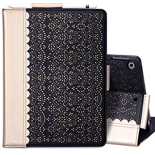 WWW Case for New iPad 8th Gen (2020) / 7th Generation (2019) 10.2',[Luxury Laser Flower] Case with [Apple Pencil Holder] [Auto Wake/Sleep] for iPad 10.2 inch 8th Generation /7th Generation Black