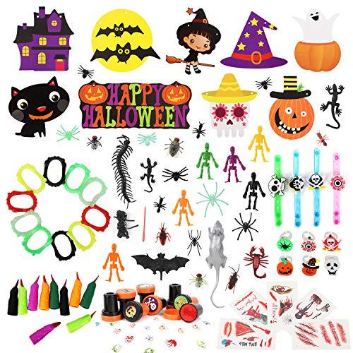Auney Halloween Dekoration Set für Kinder, Halloween Party Banner Halloween Leckerbissen Preise Süßes oder Saures Party Gefälligkeiten Hängende Dekoration 130 Stück
