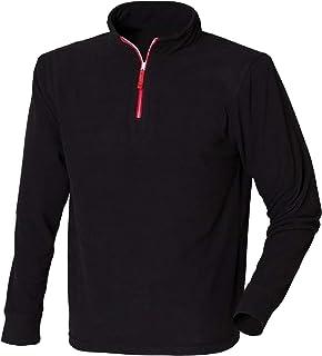 Finden & Hales Mens 1/4 Zip Long Sleeve Piped Fleece Top