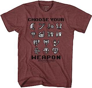 تي شيرت Monster Hunter Choose Your Weapon Vintage Maroon Heather للكبار