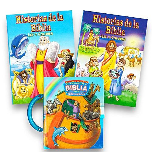 Spanish Bible Board Book for Kids Toddlers Bundle with 2 Bible Coloring Books ~ Libro de la Junta Bíblica para niños pequeños Paquete de 2 libros para colorear de la Biblia