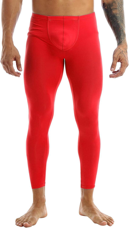 YUUMIN Men's Ice Silk Bulge Pouch Leggings Bottoms Skin Tight Pants Trousers Underwear