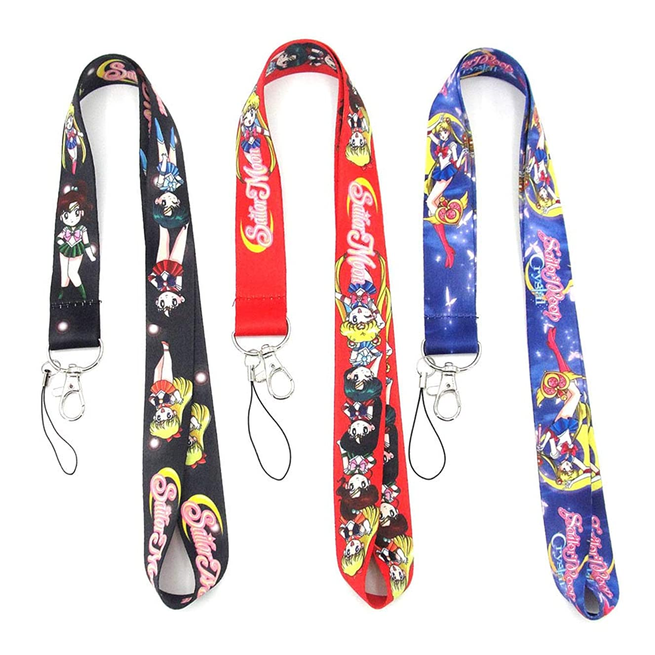 HomMall Anime Sailor Moon Key Phone Lanyard Badge ID Cards Holders Neck Straps Keyring Keychain, 3Pcs