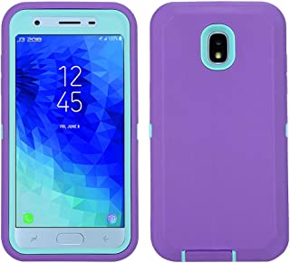 Annymall Galaxy J7 2018 Case, Heavy Duty Shockproof Defender Armor Protective Cover with Built-in Screen Protector for Samsung J7 2018/ Galaxy J7 Aero/ J7 Refine/ J7 Star/ J7 Crown(2018) (Purple/mint)