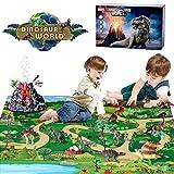 BeebeeRun Juguetes Dinosaurios con Tapete de Juego y Caja de Almacenamiento para Niños,Juguetes Educativo para Niños 3-8 Años(28 Piezas)