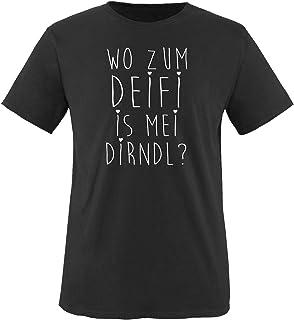 Comedy Shirts Wo zum Deifi is MEI Dirndl - Jungen T-Shirt - Rundhals, 100% Baumwolle, Top Basic Print-Shirt