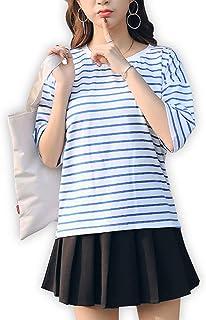 [モカベリー] レディース ボーダー Tシャツ 半袖 ゆったり チュニック カジュアル シャツ