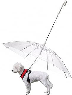 OMEM Dog Umbrella with Leash Pet Outdoor Rainproof Supplies, Diameter 30 inches