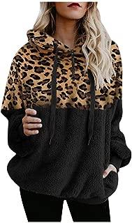 YANYUN Winter Elegant Women Sweatshirts Fuzzy Hoodies Fleece Leopard Print Long Sleeve Fashion Zip Warm Sherpa Outwear Coat