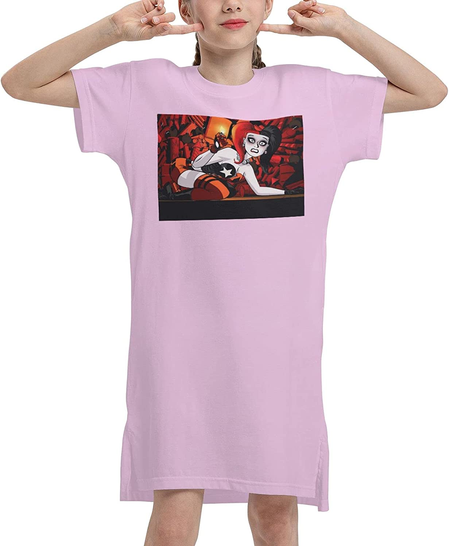 Ha-Rley Qu-Inn Girls' Dress 3D Printed Short-Sleeved Suspender Dress Casual Children's Party Dress 7-12 Years Old