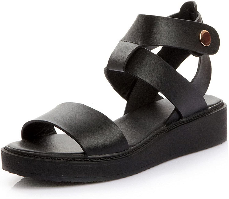 WeenFashion Women's Soft Material Buckle Open Toe Low-Heels Sandals