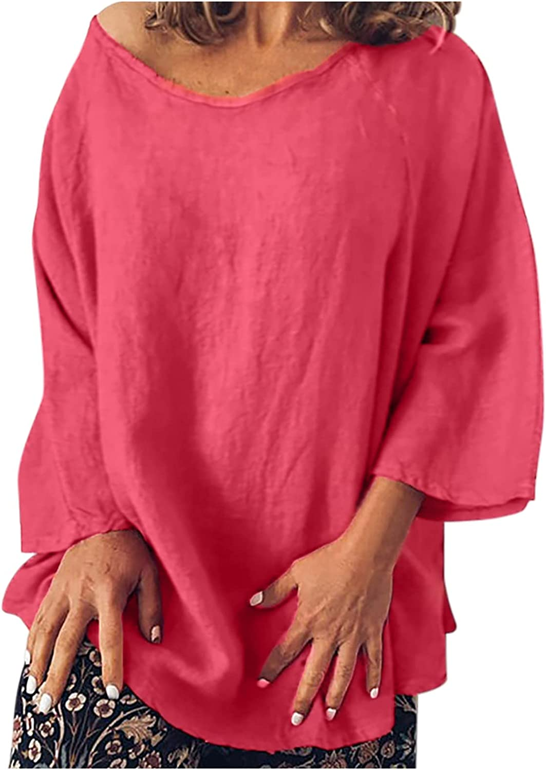 Crewneck Pullover for Women Long Sleeve Loose Aesthetic Comfy Linen Casual Tops, Oversized Sweatshirt for Women Trendy