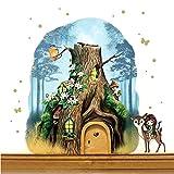 ilka parey wandtattoo-welt Elfentür aus Echtholz mit Baumhaus in Zauberwald mit Elfe, Rehlein, Eichhörnchen e15 - ausgewählte Farbe der Holztür: *lila*