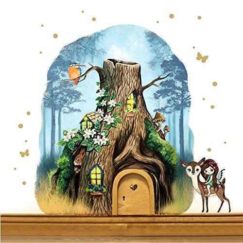 ilka parey wandtattoo-welt® Elfentür aus Echtholz mit Baumhaus im Zauberwald mit Elfe, Rehlein, Eichhörnchen e15 - ausgewählte Farbe der Holztür: *türkisblau*