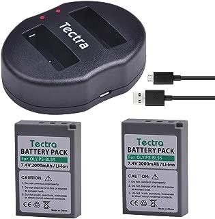 Tectra 2Pcs 2000mAh BLS-5 PS-BLS5 BLS50 Battery + Dual USB Charger for Olympus OM-D E-M10,Mark III,Mark II,PEN E- PL2,E-PL6,E-PM2, Stylus 1
