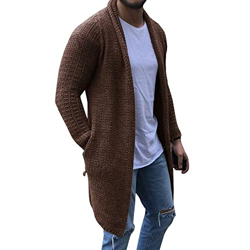 5f7b0e6d630 Mens Cardigan Sweaters Long Sleeve Knit Open Front Cardigans with Pocket