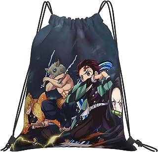 IAGM Anime Print Drawstring Backpack Bag, Waterproof Sports Gym Bag Sackpack String Bag For Men Women Kids