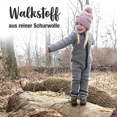 Ehrenkind® WALKOVERALL   Baby Wollwalk-Overalls aus Natur Schurwolle mit Reißverschluss   Walk Wolle Woll-Anzug für Kleinkind und Baby   Blau Gr. 74/80 - 3