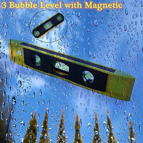 Magnetic Torpedo Level, 3 Bubble Spirit Level Magnetic Ruler Level Measuring Instrument Tool (9